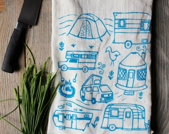 Flour Sack Tea Towel - Campground - Hand Printed Original illustration - camping, nature, adventure, trailer, camper, airstream, mountains