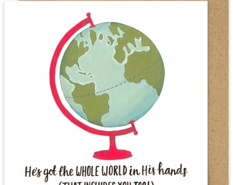 SALE Christian Encouragement Card. He's Got The Whole World In His Hands Greetings Card. Hand Lettered Scripture. Globe Traveller Card.