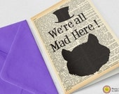 Cheshire smiling cat we're all mad here Card-Alice card-Invitation card-quote card-personalized card-tea party card-NATURA PICTA NPGC064
