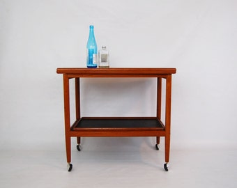 Danish Modern Teak Expandable Bar Cart