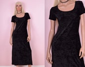 90s Black Crushed Corduroy Dress
