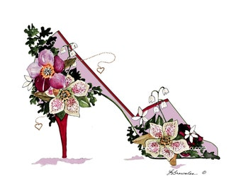 You're a Breath of Fresh Air -  Hellebores Flower Shoe Print 2011 - Enhanced with Watercolor paint and signed.  Free Shipping