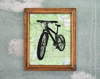 Mountain Bike Topo Print - Trails Forest Mountains