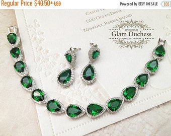Wedding jewelry set, bridesmaid jewelry set, Bridal earrings, Bridal bracelet, Bridal jewelry set, Emerald green zircon crystal earrings