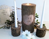 Set of 3 - Unity set candles - Tree branch candleholders - Heart candle -  Wedding candles- Wood Candle - Unity candle - Anniversary