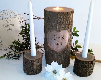 Set of 3 - Unity candles - Tree branch candleholders - Heart candle -  Wedding candles- Wood Candle - Unity candle - Anniversary