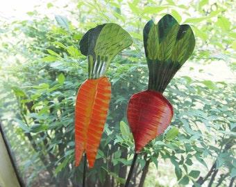 Yard Ornaments, Farmer's Market Tin Markers, Garden Art, Carrot, Radish, Lawn Ornaments, Tin Veggies, Metal Vegetables, Veggie Garden Art
