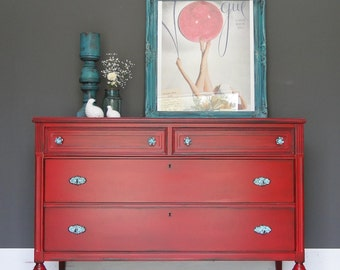 """Antique Dresser, Chest of Drawers, Bathroom Vanity, TV stand,  Bold Red, Turquoise Knobs """"Cherry"""" Modern Vintage"""
