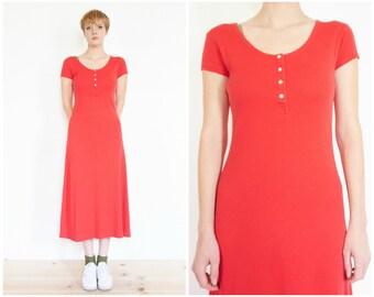 90s Red Cap Sleeve Cotton Dress