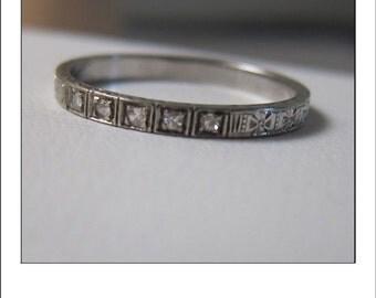 Antique 18k Engraved Diamond Eternity Wedding Band