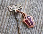Vintage enamel badge,pinback.Old Riga.
