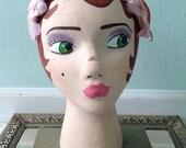 Vintage Pale Pink floral headband hat with velvet bow