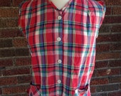 Red plaid sleeveless button up shirt