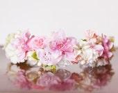 Pink Flower Crown - Wedding Crown - Flowergirl hairpiece - Summer Wedding - Newborn Photo Prop - Wedding Crown - Floral Hairpiece