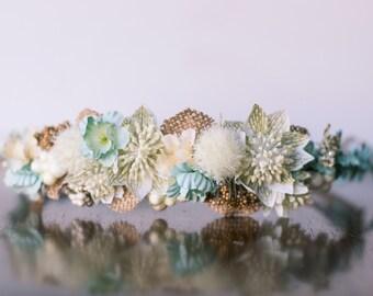 Flower Crown - Mint Green Halo - Flowergirl hairpiece - Summer Wedding - Newborn Photo Prop - Wedding Crown - Floral Hairpiece