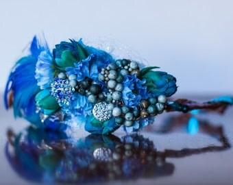 Floral Crown - Flower Halo in Pretty Blue Flowers - Flowergirl hairpiece - Newborn Photo Prop - Wedding Crown - Floral Hairpiece