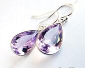 FREE SHIPPING Amethyst Purple Quartz Tear Drop Earrings Sterling Silver ZZ35