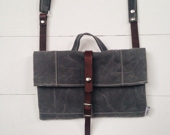 1 Ready to ship Waxed Canvas Satchel in Grey Waxed Canvas / Leather Straps / Water Resistant