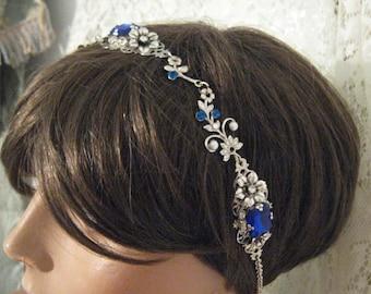 BRIDAL HEADBAND Flapper headpiece Flapper headband sapphire blue headband  Renaissance headband Downton Abbey headpiece Bridal accessories