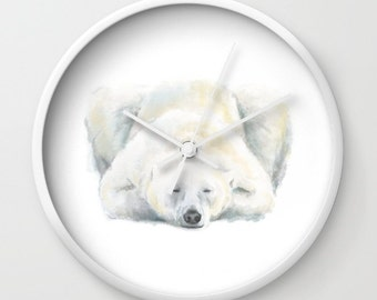 Polar Bear Wall Clock, Woodland, Baby Boy, Wall Clock, Modern Home Decor, Modern Clock, Simple Watercolor Wall Clock, Baby Room, Nursery