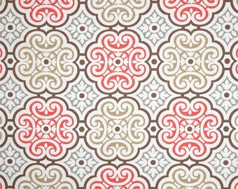 One Body Pillow Cover -  Geometric Coral/Grey/Brown