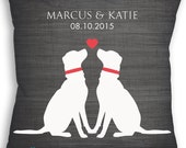 Puppy Love - Custom Dog Lover Pillow - Wedding Date Name - Personalized Wedding Gift - Bridal Shower Gift - Engagement Present
