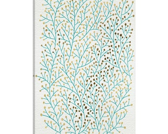 iCanvas Berry Branches Gold Turquoise Artprint Gallery Wrapped Canvas Art Print by Cat Coquillette