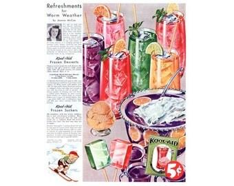Instant Download Printable Art, Kool-Aid, Digital Artwork, Color Vintage Ad, Wall Art Decor, Digital Download Print