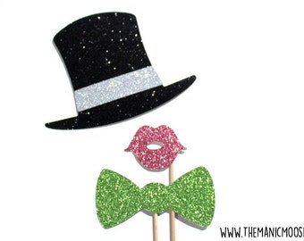 Photo Booth Props - Set of 3 Photobooth Props with Glitter - Mini Top Hat, Lips, and Bow Tie - You choose color!