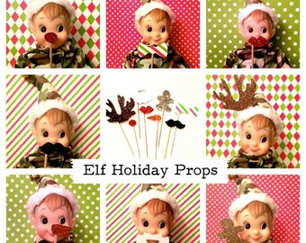 "Elf Photo Booth Props - Set of 8 MINIATURE Photo Booth Props - Elf Accessories ~ 3"" - 4"" Props"