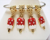 4 Red & White Enamel, Gold Plated, Popsicle Dangle Charms w AB Crystals, European Charm Beads for Euro Bracelet or Pendant, Ice Cream