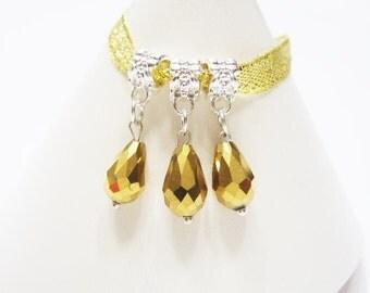 3  AB GOLD & Silver-tone Metal , Glass Crystal, Tear Drop, European Charm Bracelet Dangle Beads - Aurora Borealis. Restock, LOWER Price
