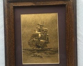 Gold foil print etching etched foil sailing ship boat clipper yacht Hollywood Regency front