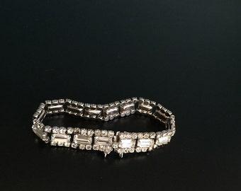 Kramer rhinestone bracelet Kramer of New York brilliant fiery clear baguette and bead bracelet signed