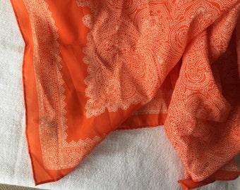 Orange paisley scarf retro fashion head scarf mod boho Robinson-Golluber Japan