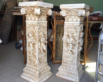 "33"" cherub plant stands PUTTI Greek column pedestals pillar classic carved marble finish angels yard art vintage chalkware"