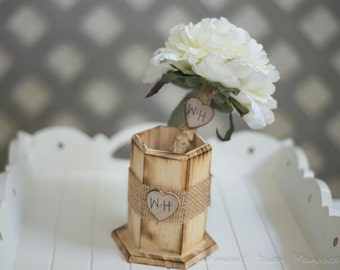 Burlap Guest book pen with vase select flower showing cream  flower peony pen