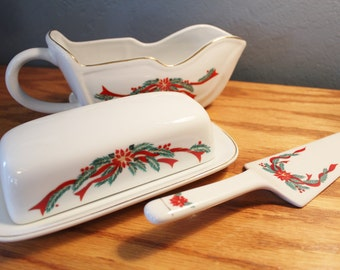 Tienshan China  Poinsettia and Ribbons Gravy Boat - Butter Dish and Cake Or Pie Server Set