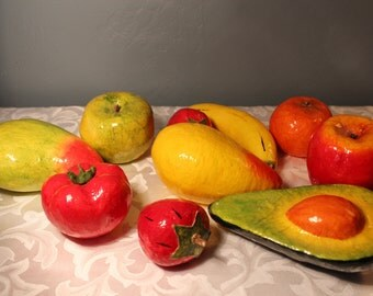 Mexican paper mache fruit, vintage bright tropical fruits papier mache