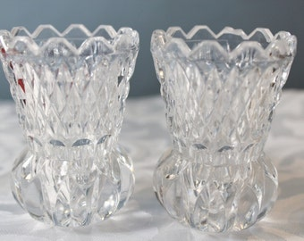 Set of 2 Pressed Glass Toothpick Holders