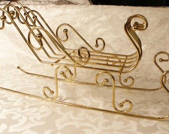 Large Gold Tone Sleigh - Christmas Decoration - Sleigh