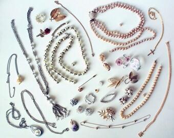 Lot of Vintage Costume Jewelry for Repair or Repurposing