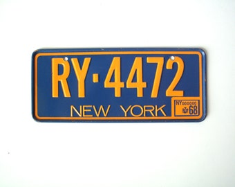 Vintage Cereal Box Novelty New York Bicycle License Plate, Metal, 1968