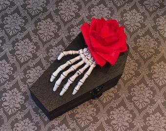 Mini Skeleton Hand Coffin Trinket Box. Black jewelry box