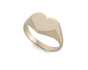 14k Gold Heart Shaped Ring - Solid Gold Heart Signet Ring -  14k Signet Ring - Gold Heart - Statement Signet Ring - Everyday Gold Heart Ring