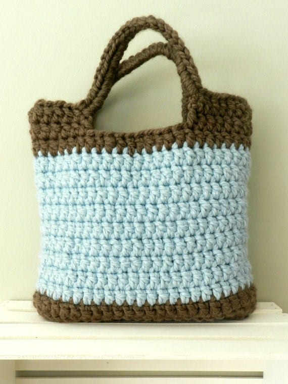 Mini Crochet Bag : SALE PRICE! Market Bag Mini. Chunky Crochet Tote Bag.