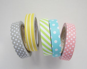pack of 5 stripe and spot paper tape masking tapes - grey, yellow, green, blue, pink - 8mm