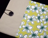 SALE - iPad Air case, iPad cover, iPad sleeve with 2 pockets, PADDED - Big white flowers (39)