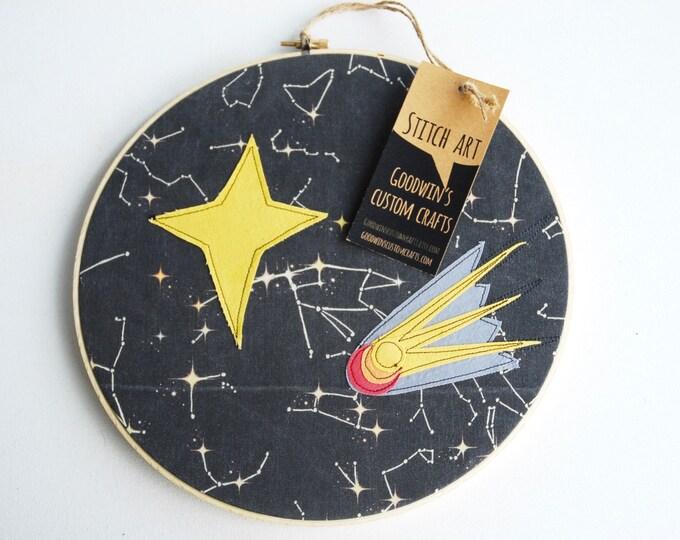 Quilted Fiber Art Hoop, Mini Art Project, Hoop Art, Stitch Art, OOAK Wall Hanging - Cosmic Events