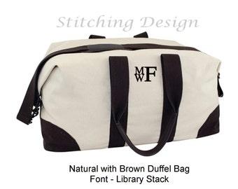 Monogram Duffel Bag,  Canvas, Weekender, Travel weekender, Men's duffel, canvas satchel - GREEN or NATURAL with brown trim